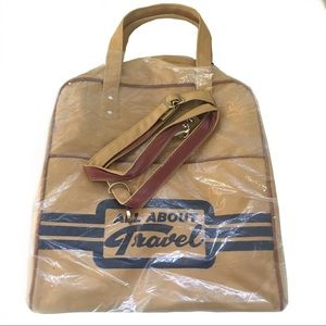 """NOS 1970s """"All About Travel"""" Canvas Carry-On Bag"""